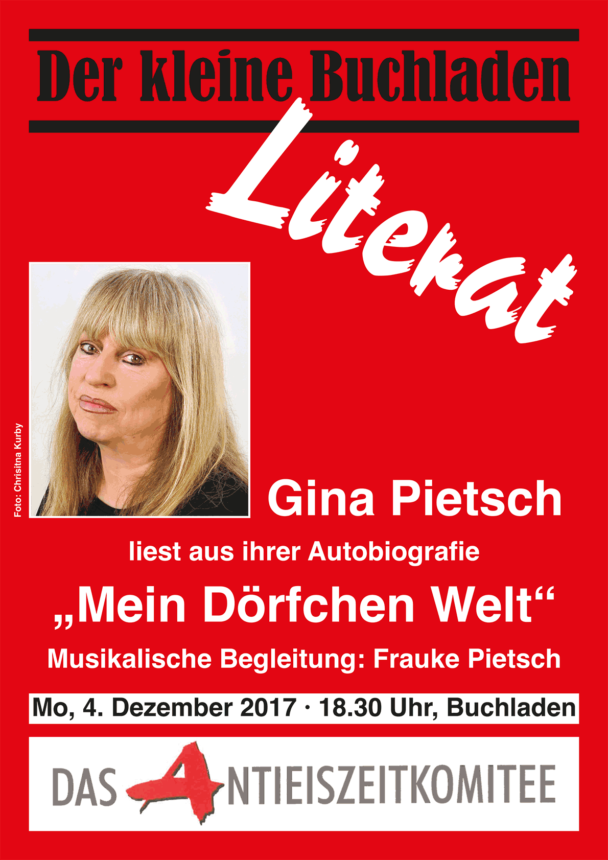 LITERAT am 4. Dez 17 mit Gina Pietsch