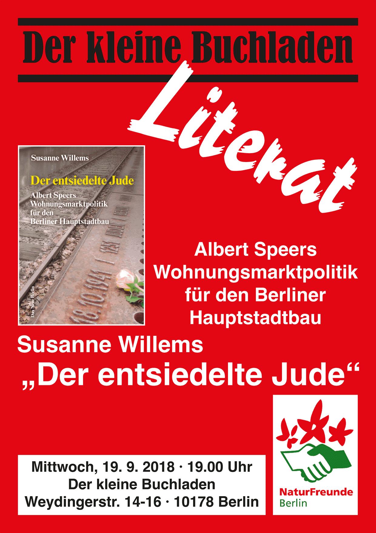Susanne Willems, »Der entsiedelte Jude«, 19.9. 19 Uhr